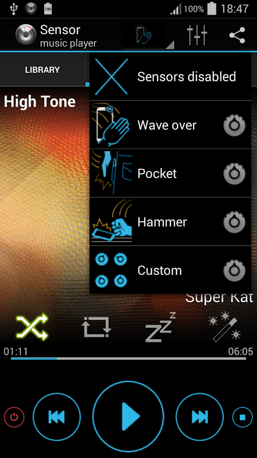 Sensor music player- screenshot