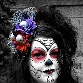 Sugar skull  by Lisa Kirkwood - People Body Art/Tattoos ( sugar skull woman body art close up )