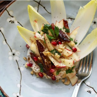 Apple and Endive Salad with Dates, Pomegranate, Sumac and Honey Walnut Labneh