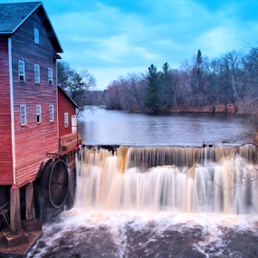 Dells Mill Falls by Becky McGuire - Landscapes Waterscapes ( dell, wisconsin, mill, mcguire, red, tvlgoddess, blue, falls, waterfall, landscape, becky,  )
