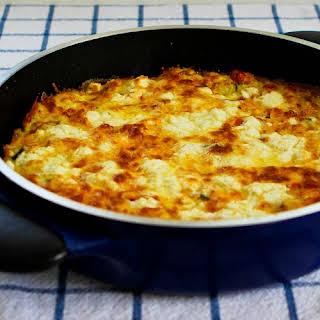 Greek Frittata with Zucchini, Tomatoes, Feta, and Herbs.