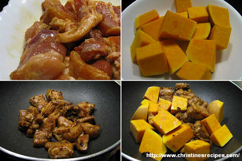 南瓜炆排骨製作圖 Braised Pork Ribs with Pumpkin Procedure