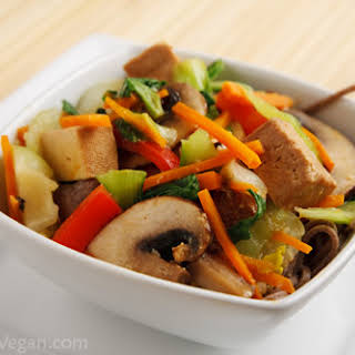 Stir-fried Tofu and Vegetables with Miso Sauce.