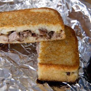 Chopped Steak Grilled Cheese Sandwich.