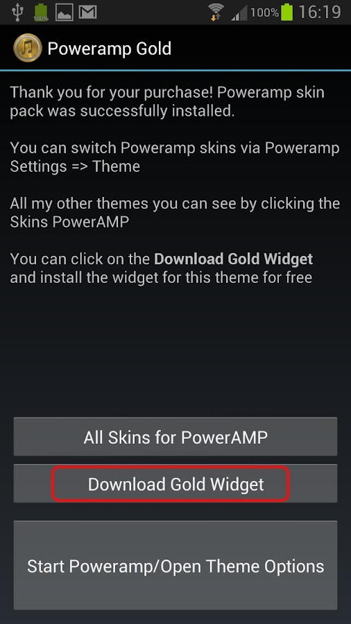 PowerAmp Skin  OR Gold - screenshot