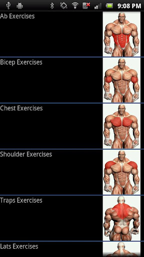 Screenshot #1 of Gym Exercise Guide Pro / Android