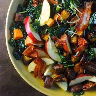 Mustardy Kale Salad with Bacon & Sweet Potatoes