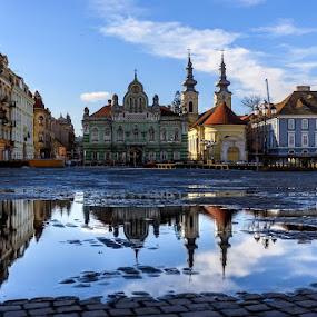 Reflection on street water by Viorel Stanciu - City,  Street & Park  Street Scenes ( arhitecture, church, pray, reflexion, street photography, , Urban, City, Lifestyle )