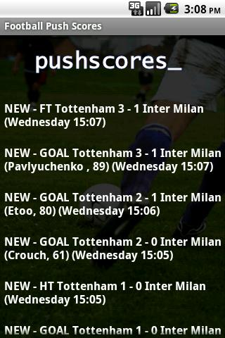 Football Push Scores Lite - screenshot