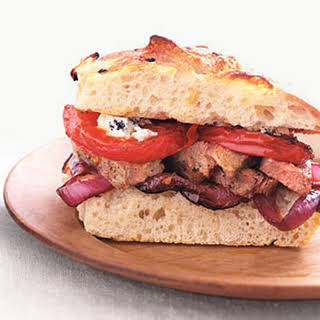 Broiled Steak Sandwiches with Balsamic Vegetables.