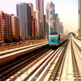 Coming from Eternity by Anoop Namboothiri - Transportation Railway Tracks ( moods, freedom, skyscrapers, colorful, land, orange. color, transportation, vibrant, city, inspiring, free, inspiration, january, emotions, lifestyle, train, inspire, railway line, vertical lines, metro, happiness, tracks, emotion, urban, pwc, blue, device, inspirational, mood factory,  )