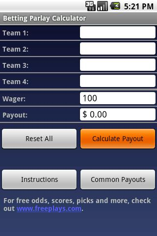 free football parlay calculator moneyline
