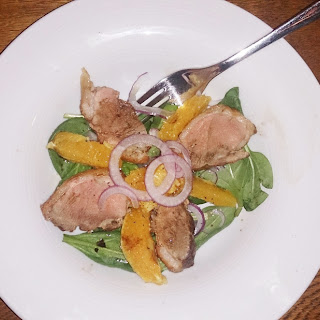 Warm Duck and Orange Salad with Balsamic Vinegar.