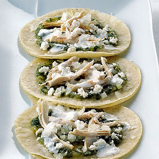 Soft Fried Tortillas with Tomatillo Salsa and Chicken.