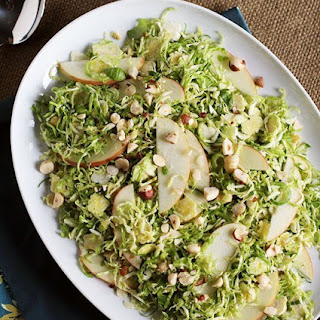 Shaved Brussels Sprouts Salad with Apples, Hazelnuts & Brown Butter Dressing.