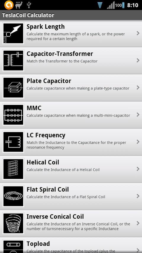 Tesla Coil Calculator- screenshot