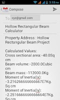 Screenshot of Hollow Rectangular Beam Calc