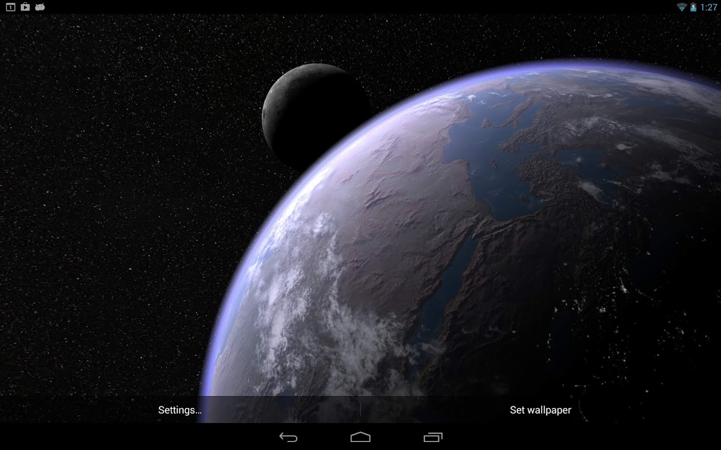 Android 3d Effect Wallpaper Hd: Earth & Moon In HD Gyro 3D PRO