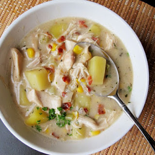 Chicken Chowder with Potato, Bacon, and Corn.