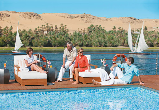 Uniworld-River-Tosca-sun-deck - Guests will soak up the sweeping views of Egypt's Nile from the sun deck of Uniworld's River Tosca cruise ship.