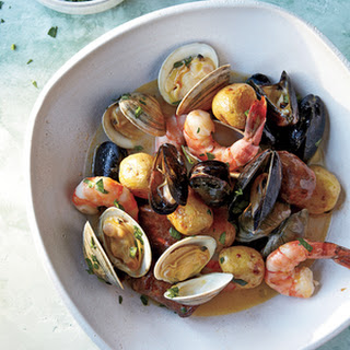 Sheet-Pan Clambake With Mussels, Shrimp, and Chorizo.