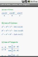 Screenshot of Math Formulae Lite (Free)