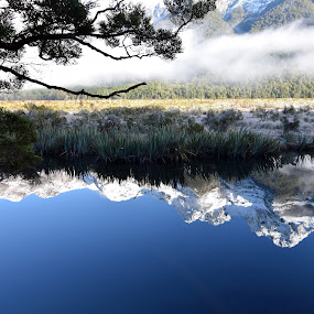 Mirror Lake, NZ by Timothy Carney - Landscapes Waterscapes ( mountains, reflection, south island, mirror lake, new zealand )