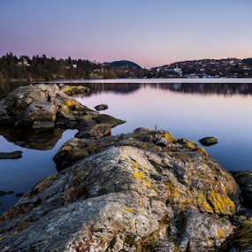 Troldhaugen sunset. Bergen, Norway. by Paulius Bruzdeilynas - Landscapes Waterscapes ( water, bergen, mountain, moss, stone, rock, city, norway, fjord, sky, troldhaugen, blue, sunset, norge, stones, rocks,  )