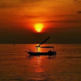 Red Morning by Luhur Prasetyo - Landscapes Sunsets & Sunrises ( #sunrise #boat #indonesia,  )