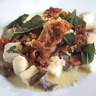 Ricotta Gnudi with Wild Mushroom and Truffle Sauce.