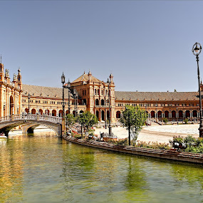 Plaza de España Seville Spain by Jennifer Wheatley-Wolf - City,  Street & Park  Historic Districts ( jennifer wheatley-wolf, seville, bridge, canal, spain, bridge of plaza de españa seville,  )