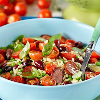Mediterranean Chorizo and Risoni Salad with Roasted Tomatoes.