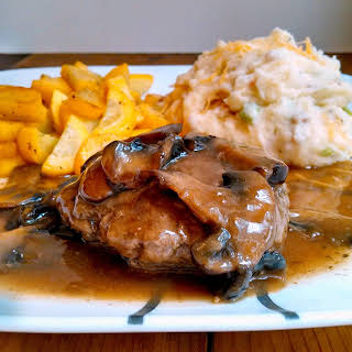 Salisbury Steak w/ Loaded Mashed Potatoes and Mushroom Gravy.