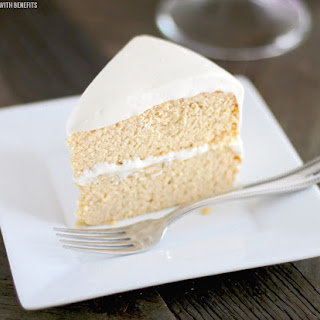 Healthy Low Carb and Gluten Free Vanilla Cake with Vanilla Bean Cream Cheese Frosting.