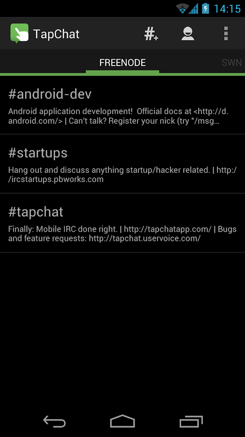 TapChat IRC Client- screenshot