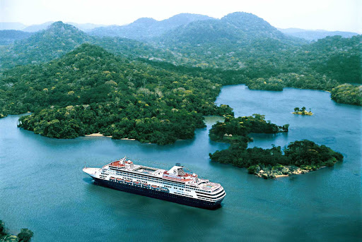 Holland-America-Veendam-Panama-Canal - Holland America's Veendam sails through Panama.