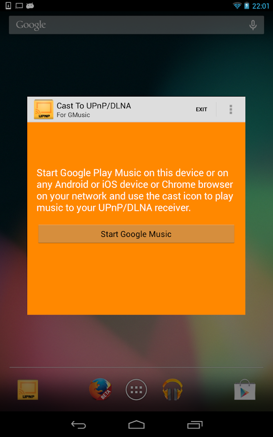 Cast To UPnP/DLNA for GMusic - screenshot