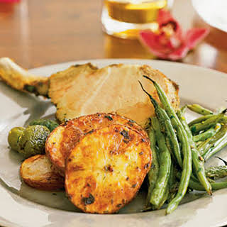 Mini Pork Rack with Roasted Potatoes and Green Beans.