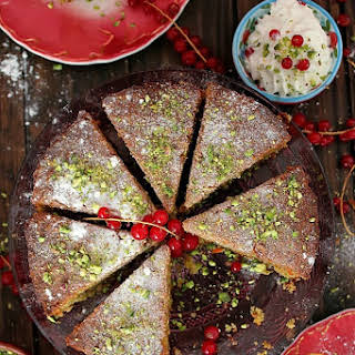 Carrot, Pistachio, and Coconut Cake with Rose-Scented Cream.