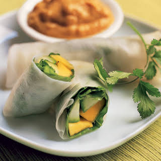 Papaya Spring Rolls with Peanut Sauce.