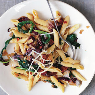 Penne with Radicchio, Spinach, and Bacon