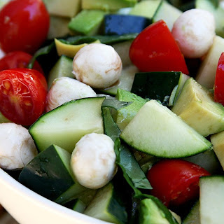 Cucumber Avocado Caprese Salad.