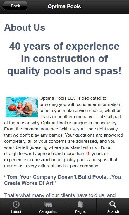 Optima Pools - screenshot