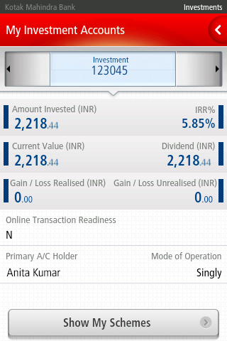 Kotak Bank - screenshot
