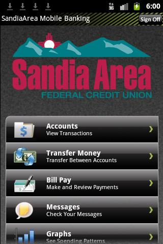 Sandia Area Mobile Banking - screenshot