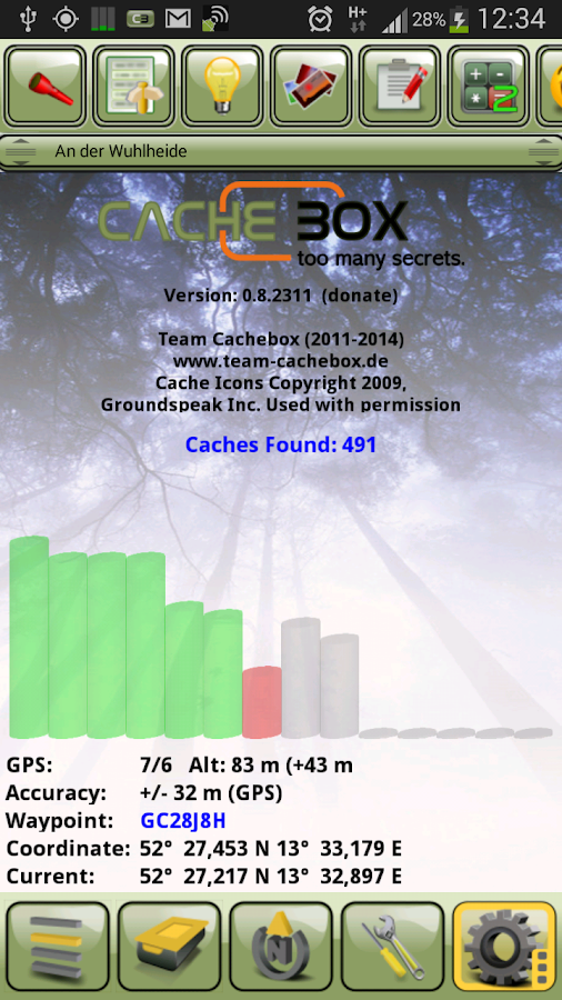 Cachebox - with Geocaching API - screenshot