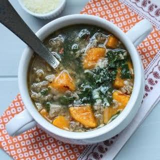 Turkey Sausage, Kale & Pumpkin Soup.