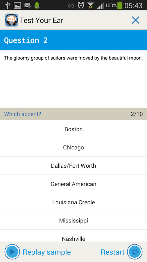 The Real Accent App: USA- screenshot