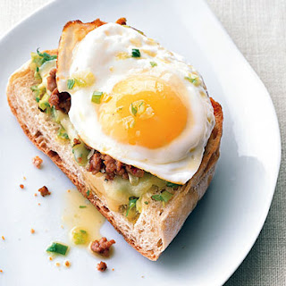 Fried Egg and Sausage Ciabatta Breakfast Pizzas.