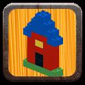 Buildings with building bricks icon